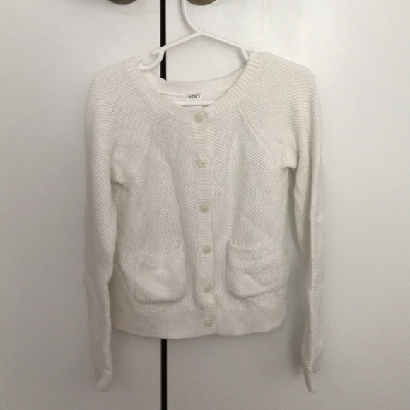 Carters Shirts Tops Little Girls White Knitted Cardigan Poshmark